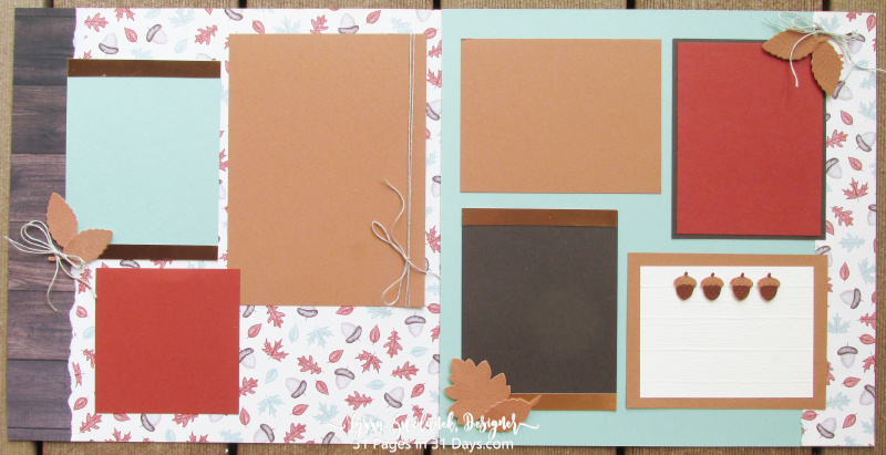 31 days album pages layout scrapbooking Stampin Up papers 12x12 dad leaves fall gilded autumn