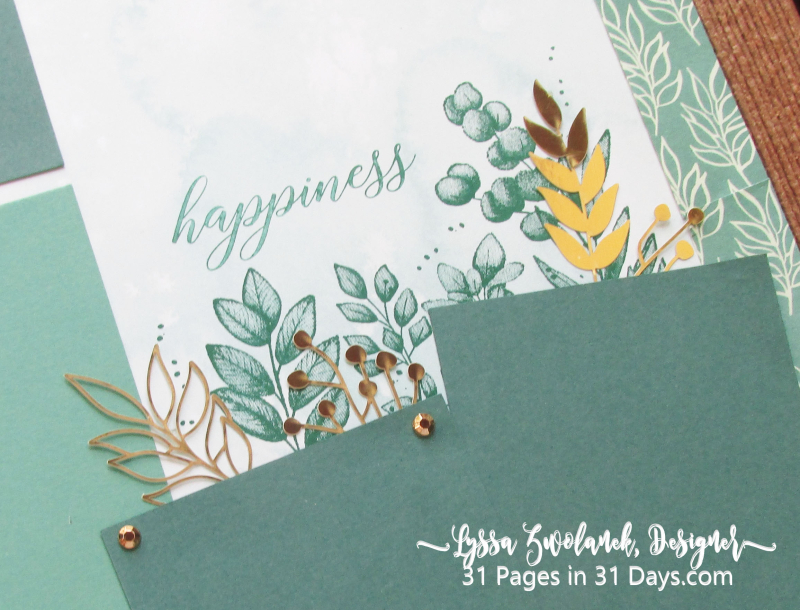 31 days album pages layout scrapbooking Stampin Up papers 12x12 forever leaves gold fern