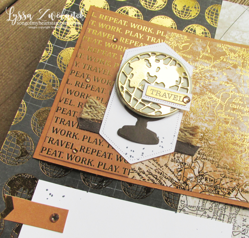 World Good globe travel journey adventure scrapbooking Stampin Up 12x12 layout Lyssa