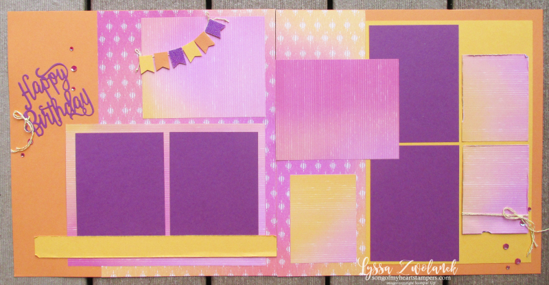 Scrapbooking school summer birthday pages layout Stampin Up party album Lyssa 12x12 papers ideas
