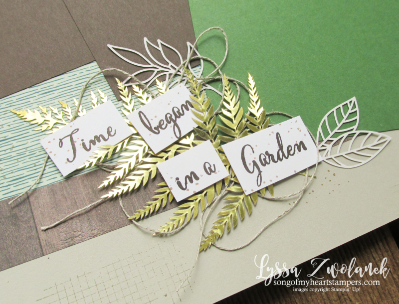 Forever gold greenery good taste scrapbook pages Stampin Up 12x12 papers