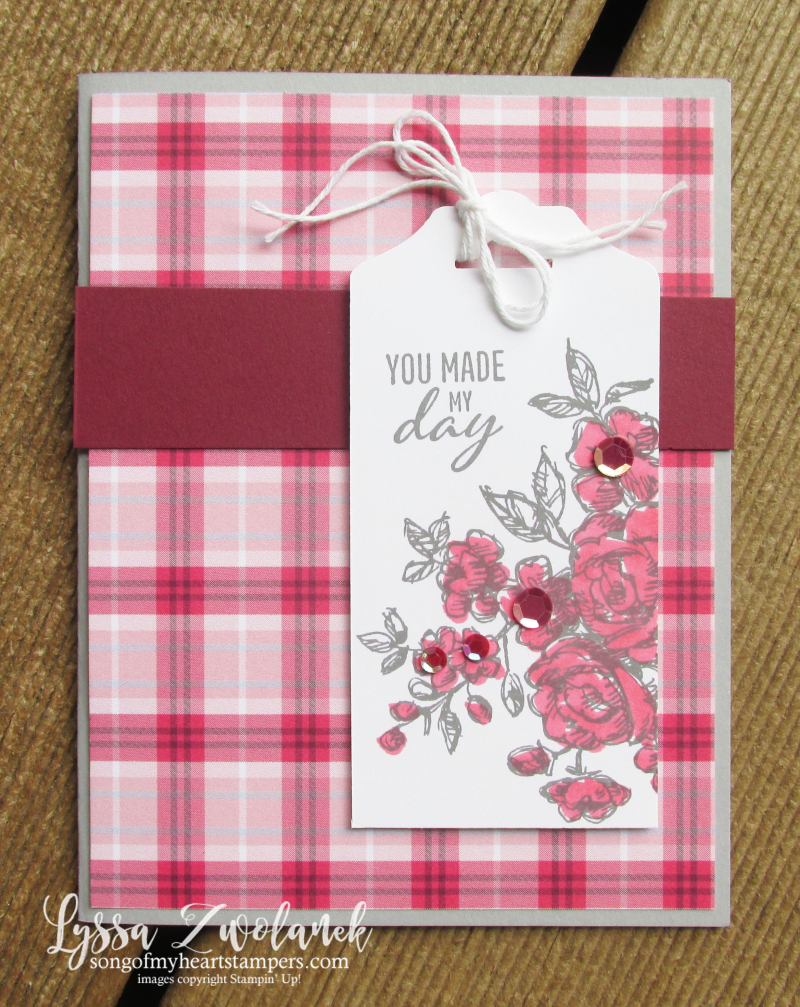 Plaid Tidings paper Stampin Up buffalo check raspberry autumn Christmas 6x6 stack