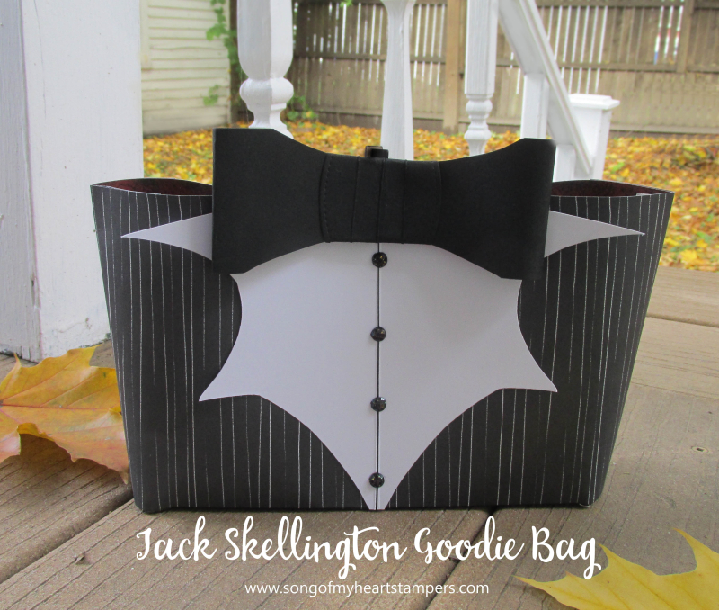 Halloween jack skellington goodie candy bag tote paper craft Stampin Up magic night