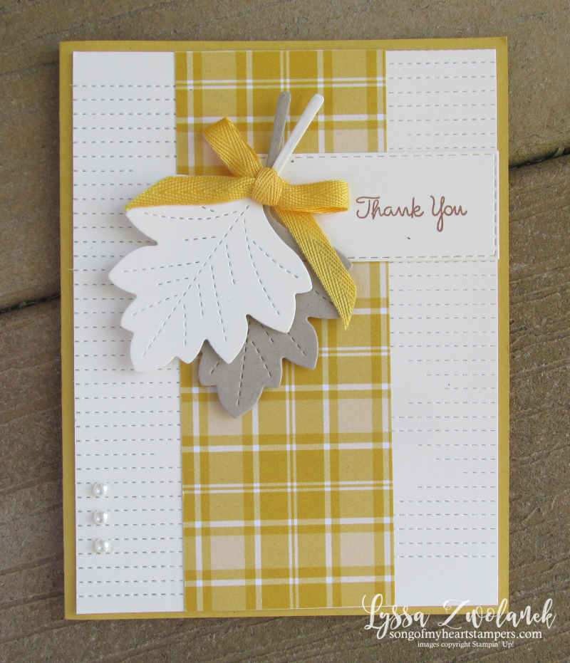 Love of Leaves Stampin Up class cardmaking Lyssa tutorial technique plaid autumn fall
