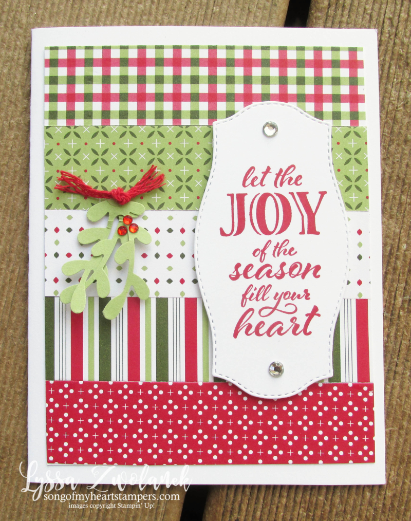 Heartwarming hugs cards papers 12x12 Stampin Up cardmaking layouts easy quilt mistletoe Christmas holiday Lyssa