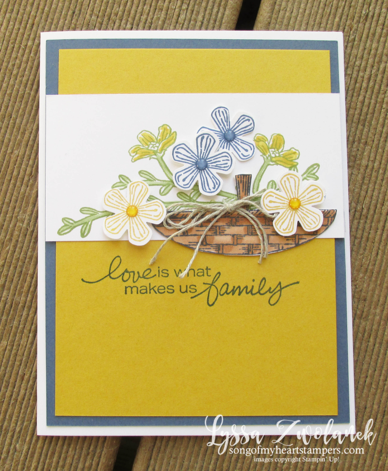 Basket of blooms Stampin Up Lyssa punch blossom bloom class tutorial techniques layout