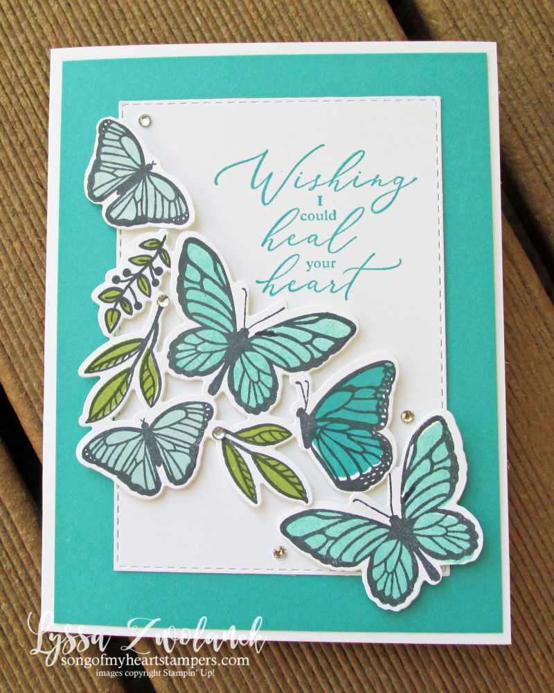 Butterfly floating fluttering Stampin Up dies spring stamps set techniques Lyssa