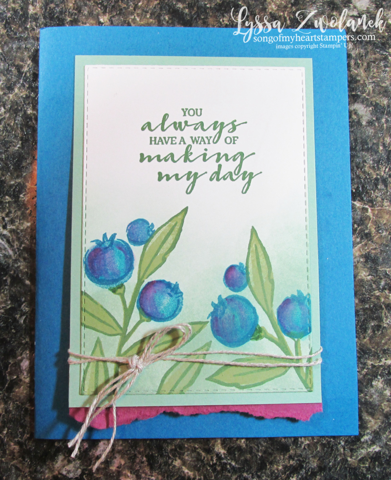 Berry Best SAB saleabration Stampin Up free stamp set Lyssa cardmaking blueberries rubber paper supplies