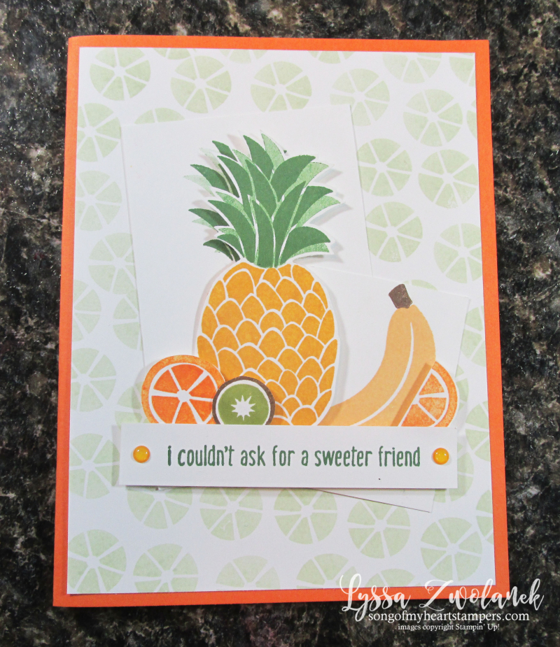 Cute fruit stamp set Stampin Up Lyssa tropical basket kiwi pineapple welcome banana lime rubber stamps