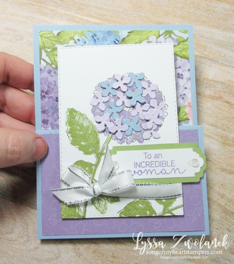 Hydrangea Haven Hill Stampin Up Lyssa class suite sampler subscription 12x12 papers fancy fold