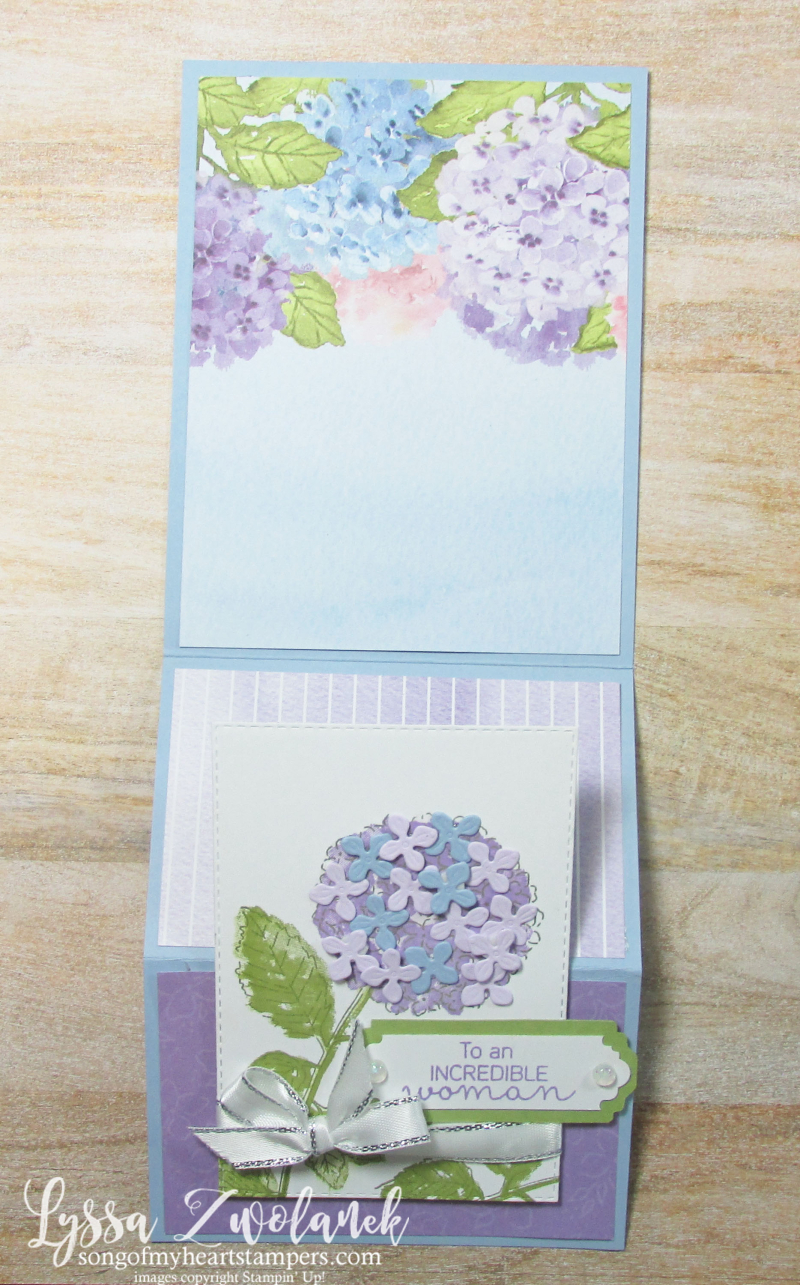 Hydrangea Haven Hill Stampin Up Lyssa class suite sampler subscription 12x12 paper fancy fold