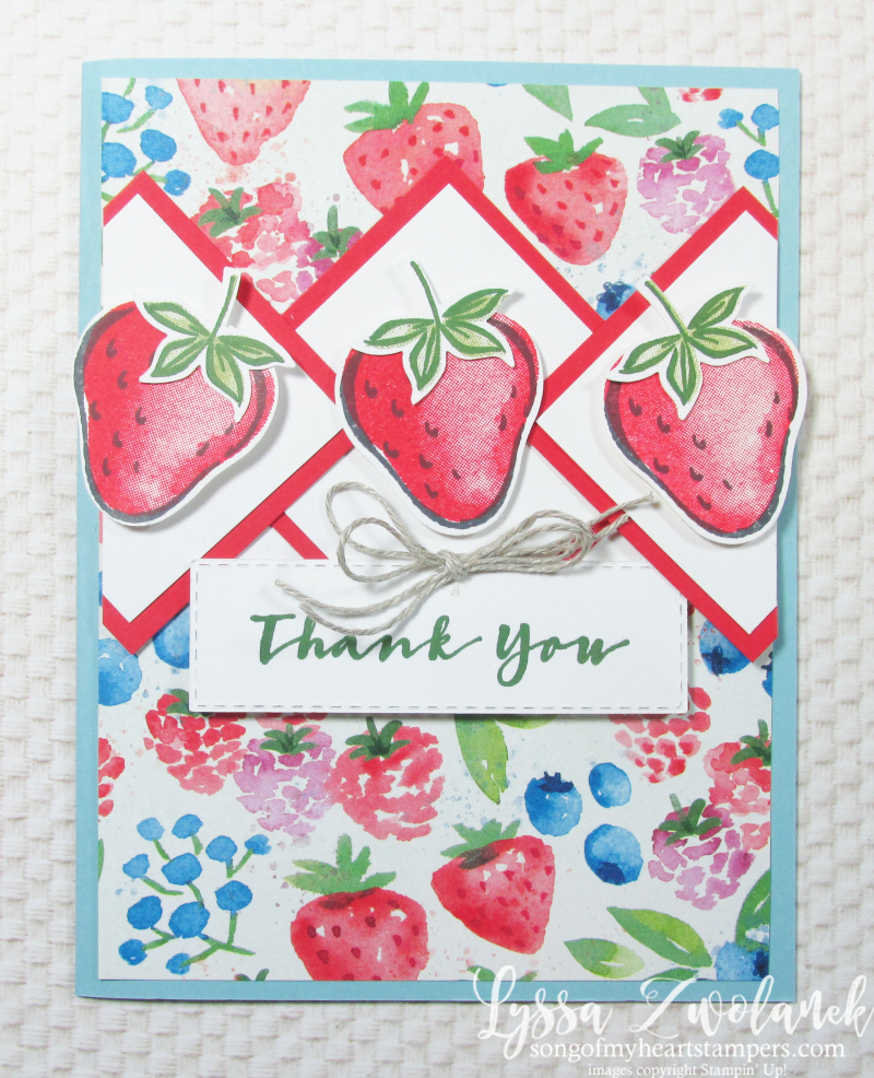 Sweet Strawberry cardmaking classes Lyssa Stampin Up punch bundle berries blessings garden fruit rubber stamps