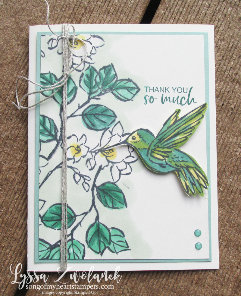 Touch of ink humminbird gardenia Stampin Up watercolor 2 step SAB rubber stamping cardmaking ideas