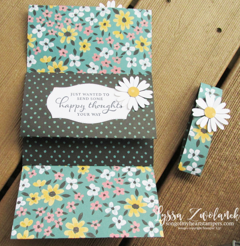 Four door fold fancy Lyssa scored DSP card tutorials free Stampin Up idea