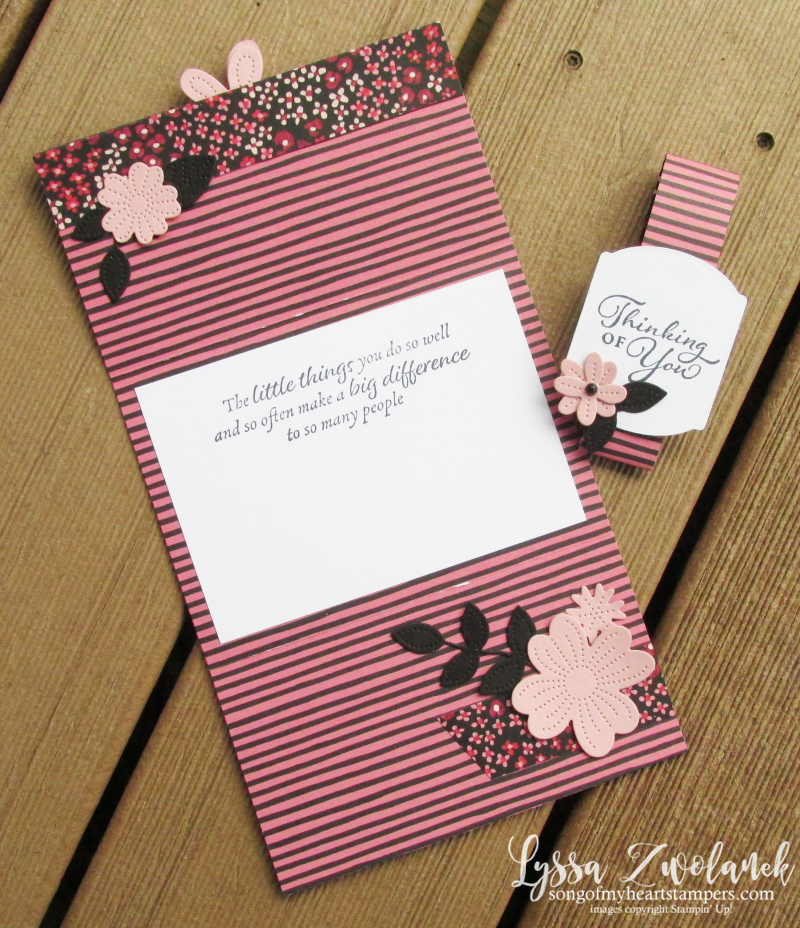 Four door fold fancy Lyssa scored DSP card tutorials fun birthday DIY Stampin Up idea
