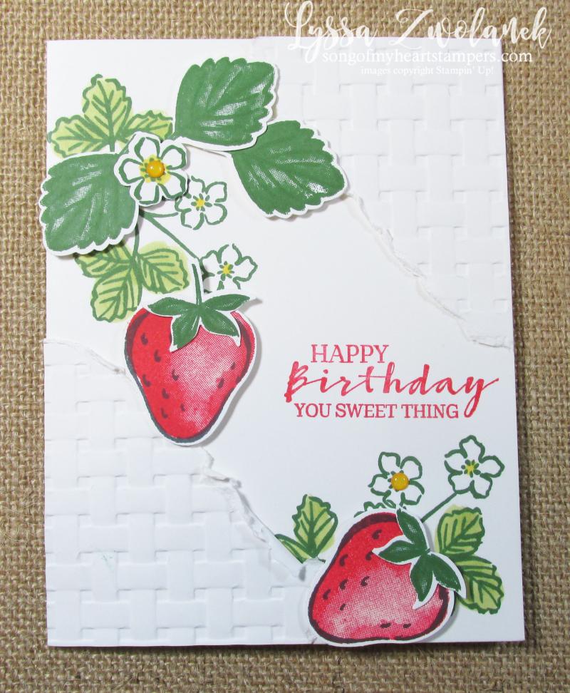 Sweet strawberry blessings Stampin Up basket weave folder Lyssa SAB 2021 layout torn layers punch bundle cardmaking
