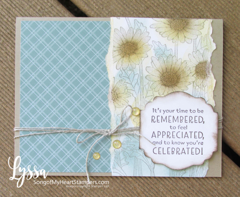 Daisy Garden blending brushes card Stampin Up Lyssa patterned papers Soft Succulent sponge daubers