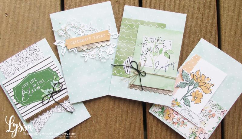 Hand penned petals Stampin Up suite sampler Lyssa memories more card packs