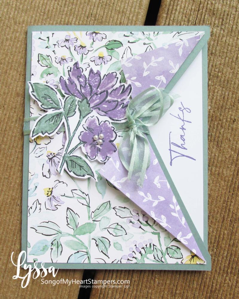 Hand penned petals Stampin Up suite sampler Lyssa memories more card peekaboo ideas