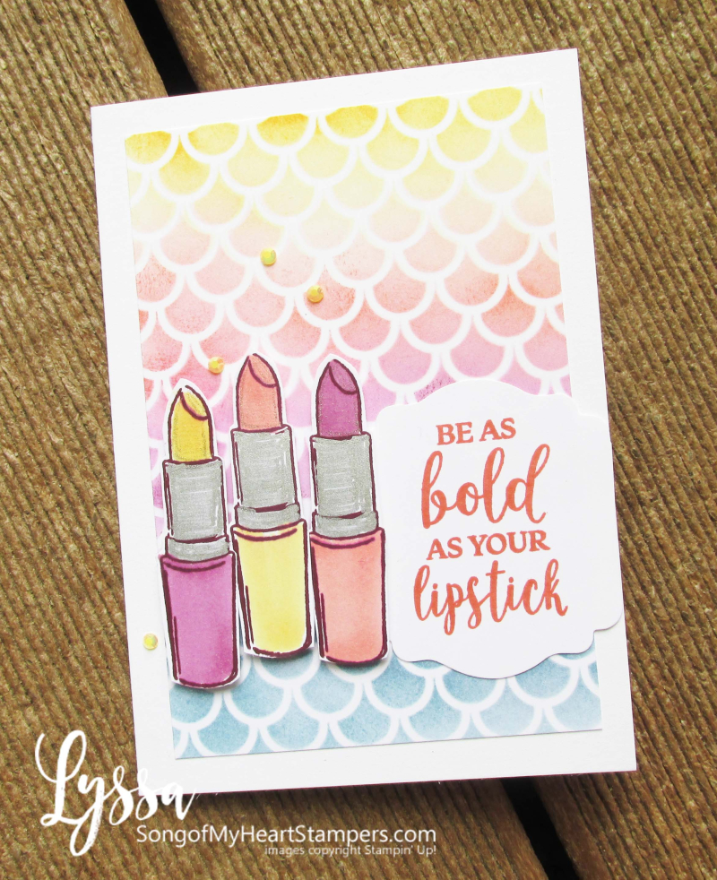 Stencil mask cards blending brushes easy techniques lipstick Lyssa Stampinup