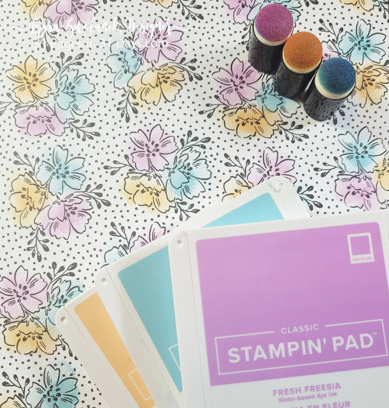 31 days Lyssa pages scrapbooking stampin Up papers Saleabration dauber