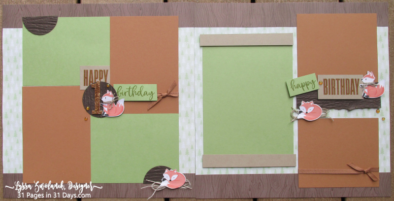 First birthday 31 Pages in 31 Days little foxes forest animals penguin scrapbooking baby layout idea