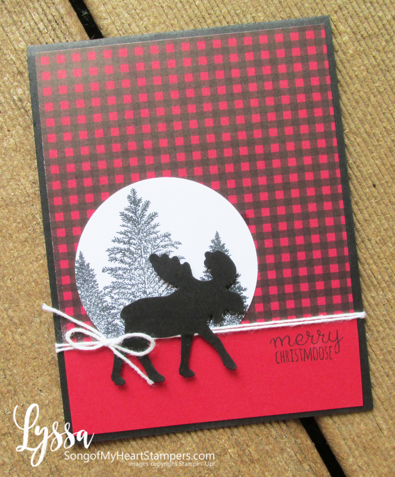 Christmas cards plaid moose punch rubber stamps Stampin Up Lyssa