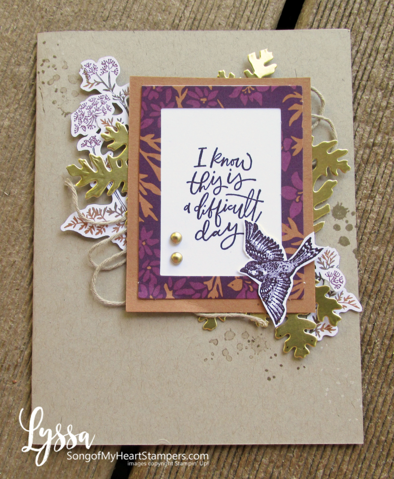 Beauty Blackberry Meadow Stampin Up gold leaves birds card papers Lyssa tutorial idea