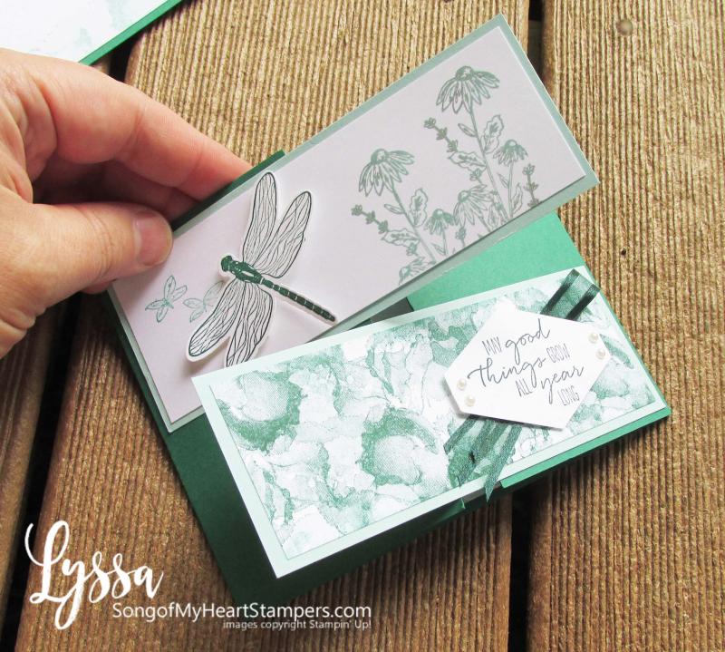 Dragonfly Garden fancy fold Lyssa Stampin Up class tutorial fun rubber stamping