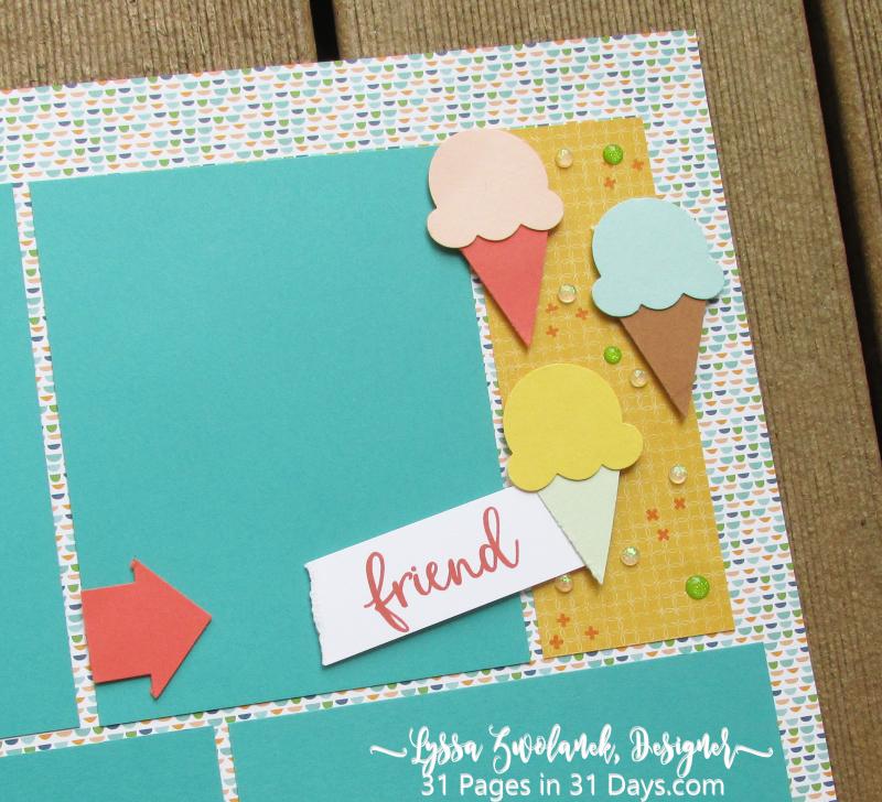 31 days pages Stampin Up scrapbooking Lyssa series album birthday ice cream layout