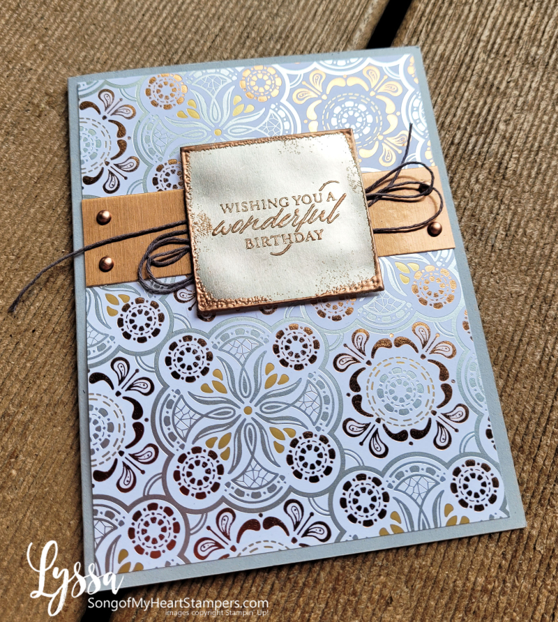 August class month Lyssa simply elegant punch Stampin Up idea metallic DIY card