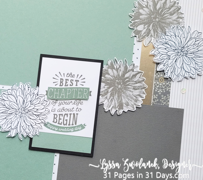 31 days Lyssa pages scrapbooking stampin Up papers Saleabration freebie dahlia