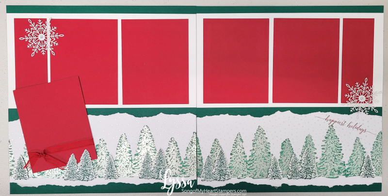 Peaceful place papers Stampin Up scrapbooking ideas templates layouts pages winter classic spruce