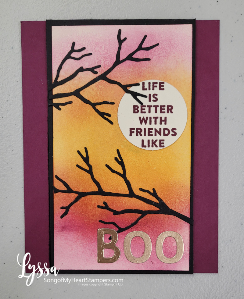 Silhouette stamping blending brushes halloween easy card background fancy fold